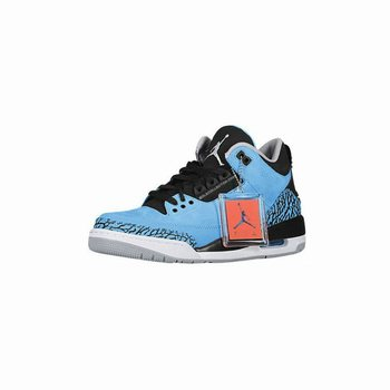 Air Jordan 3 Retro Dark Powder Blue/Black-Wolf Grey-White 2014(Women Men Gs Girls)