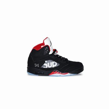 Authentic 824371-001 Air Jordan 5 Retro Supreme Black Fire Red (Men Women)