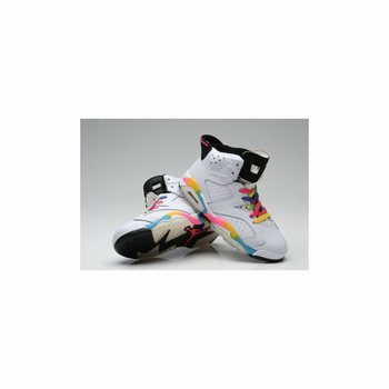 384665-103 Air Jordan 6 white rainbow Women Girls Gs